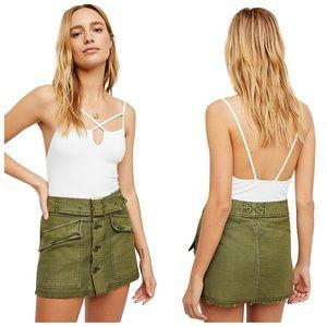 BNWOT-FP Army Green Raw Hem Hangin On Mini Skirt